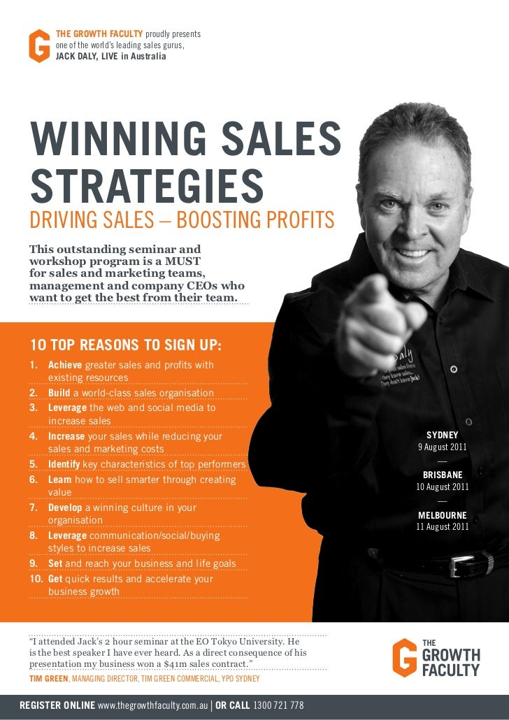 THE GROWTH FACULTY proudly presents         one of the world's leading sales gurus,         JACK DALY, LIVE in Australia  ...