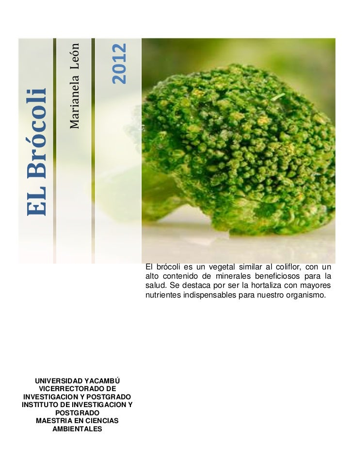 2012             Marianela LeónEL Brócoli                                     El brócoli es un vegetal similar al coliflor...