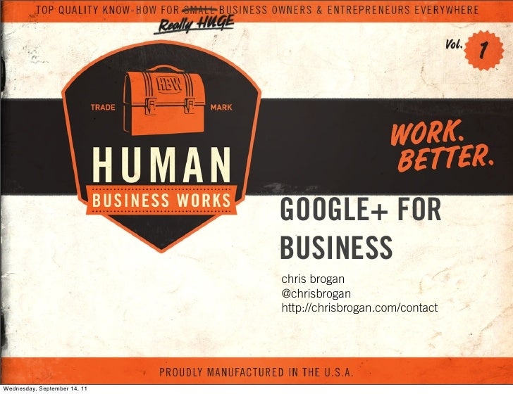 GOOGLE+ FOR                              BUSINESS                              chris brogan                              @...