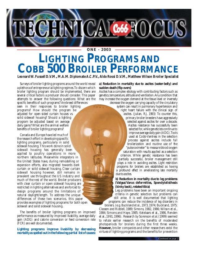 ONE - 2003 LIGHTING PROGRAMS AND COBB 500 BROILER PERFORMANCE Leonard W. Fussell D.V.M. ...  sc 1 st  SlideShare & Broiler lighting progrrame cobb azcodes.com
