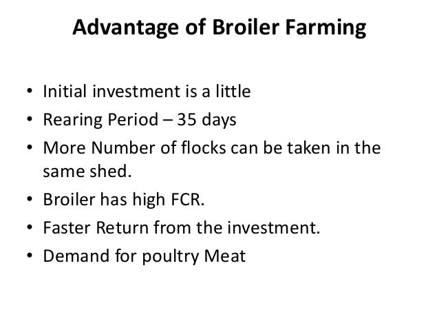 Advantage of Broiler Farming • Initial investment is a little • Rearing Period – 35 days • More Number of flocks can be ta...