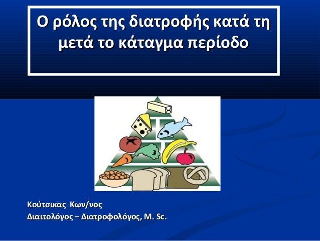 Ο ρόλος της διατροφής κατά τηΟ ρόλος της διατροφής κατά τη μετά το κάταγμα περίοδομετά το κάταγμα περίοδο ΚούτσικαςΚούτσικ...