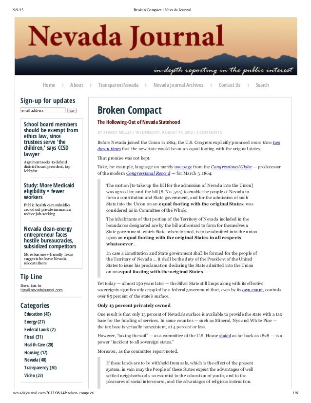 9/9/13  Broken Compact | Nevada Journal  Home  About  |  |  Sign-up for updates email address  Go  School board members sh...
