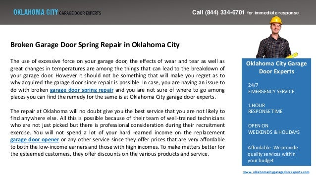 Broken Garage Door Spring Repair In Oklahoma City
