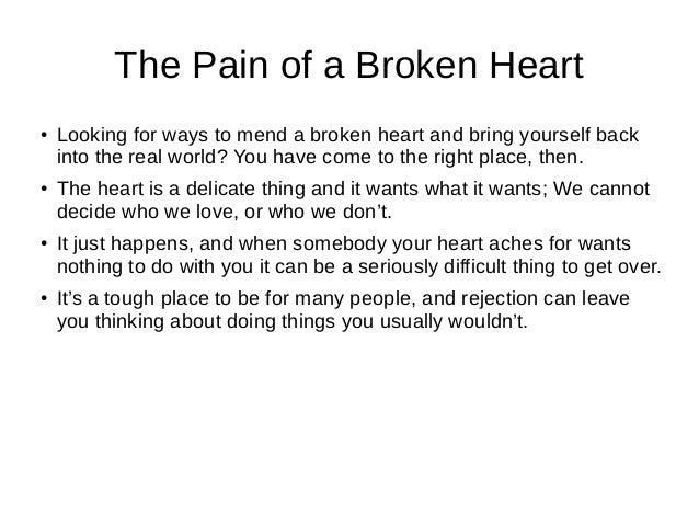 Advice to someone with a broken heart