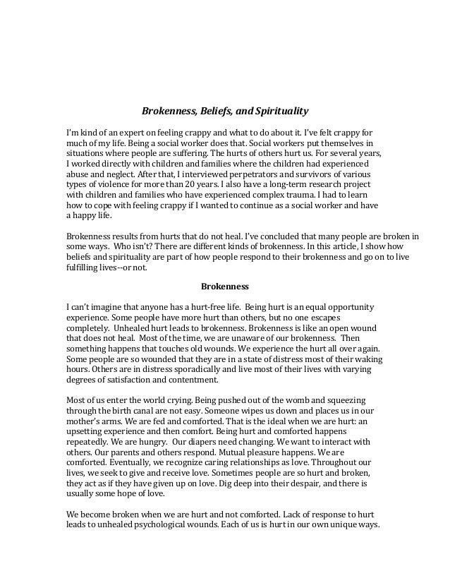 Brokenness, Beliefs, and Spirituality Slide 2