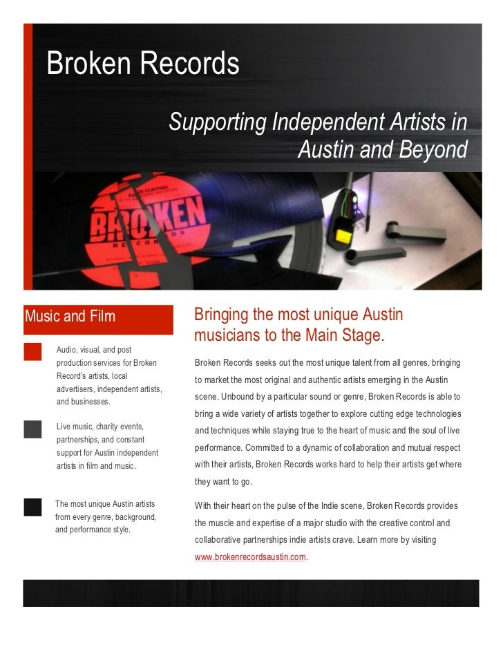Broken Records                                        Supporting Independent Artists in                                   ...