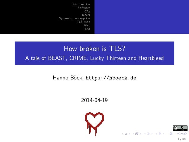 Introduction Software CAs X.509 Symmetric encryption TLS misc Misc End How broken is TLS? A tale of BEAST, CRIME, Lucky Th...