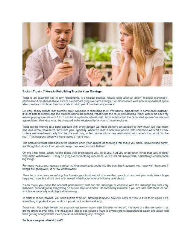 Broken trust – 7 keys to rebuilding trust in your marriage