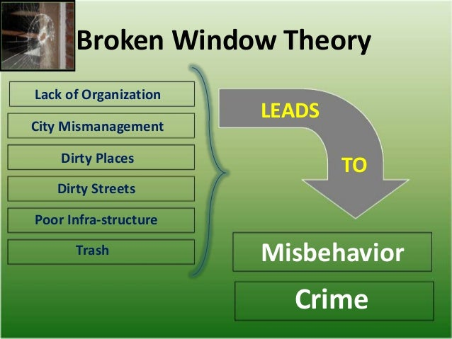 broken window theory analysis Broken windows theory heory that explains how social controls can systematically weaken, and minor acts of deviance can spiral into severe crime and social decay.