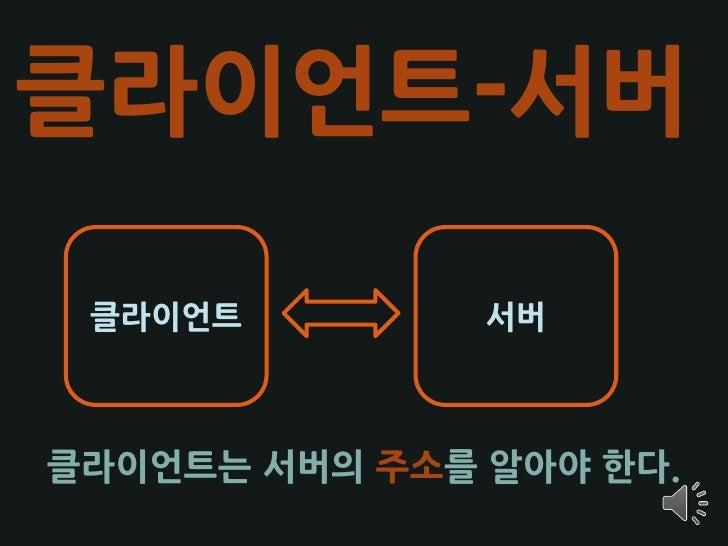 클라이언트-서버   클라이언트         서버    클라이언트는 서버의 주소를 알아야 한다.