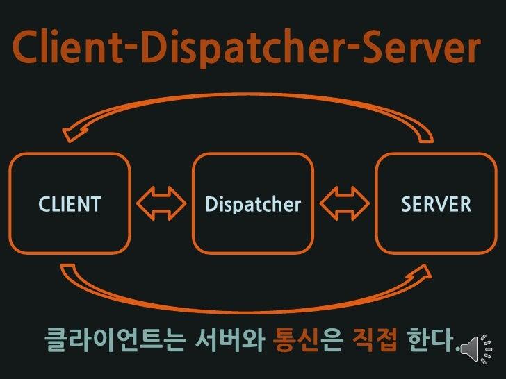 Client-Dispatcher-Server    CLIENT   Dispatcher   SERVER      클라이언트는 서버와 통신은 직접 한다.