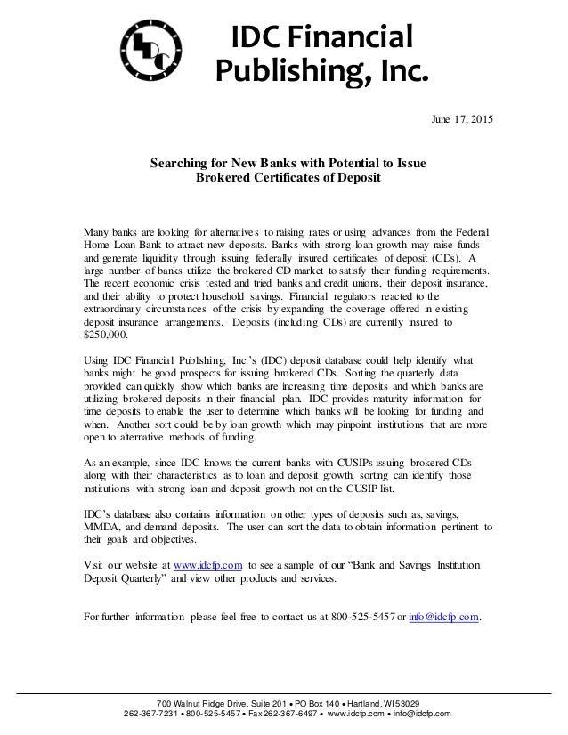 Brokered Certificates Of Deposit