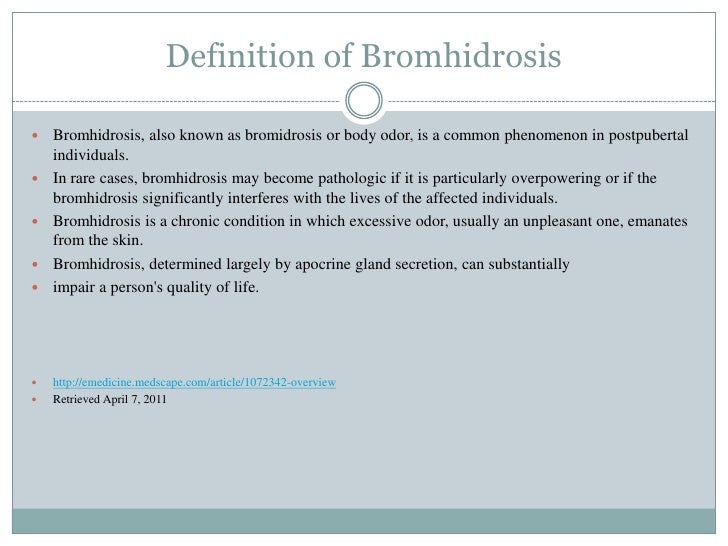 Bromhidrosis definition of marriage