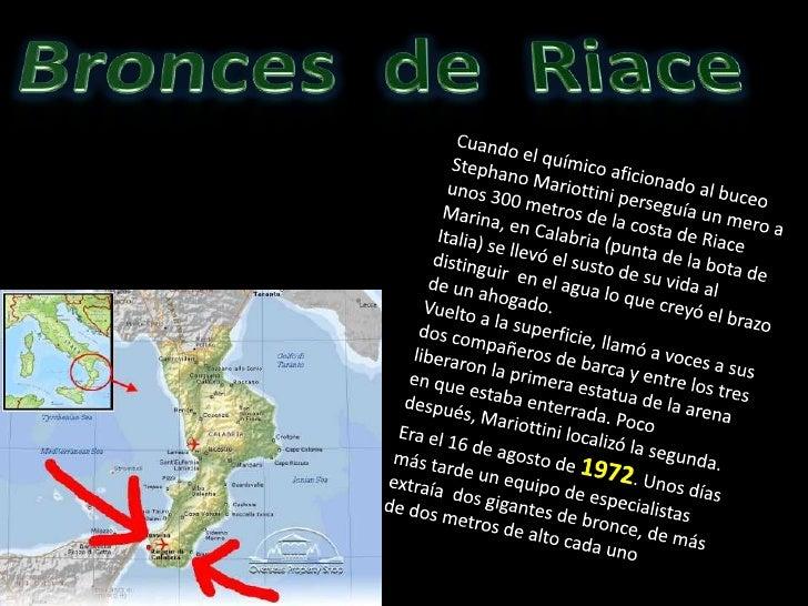 Bronces  de  Riace<br />Cuando el químico aficionado al buceo StephanoMariottini perseguía un mero a unos 300 metros de la...