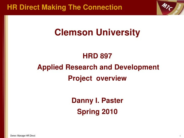 HR Direct Making The Connection                                  Clemson University                                       ...