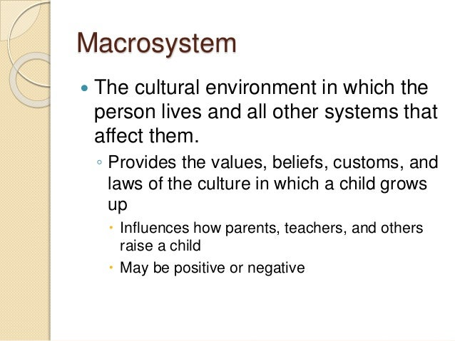 how does microsystem affects a child s development Ecological systems theory children and young  theory affects the child development how does urie  their child's microsystem in school.