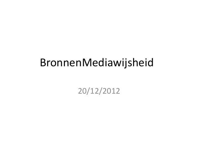 BronnenMediawijsheid      20/12/2012