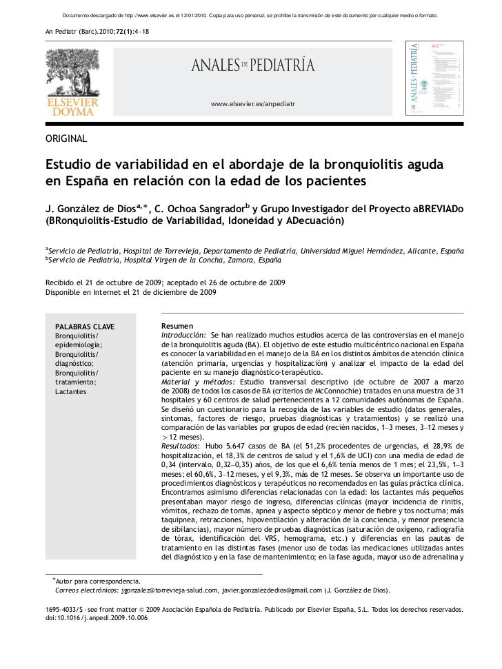ARTICLE IN PRESS        Documento descargado de http://www.elsevier.es el 12/01/2010. Copia para uso personal, se prohíbe ...