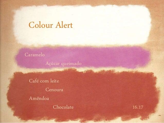 16.17 Caramelo Açúcar queimado Café com leite Cenoura Amêndoa Chocolate Colour Alert