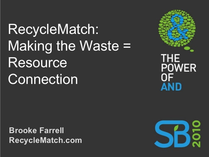 RecycleMatch: Making the Waste = Resource Connection Brooke Farrell RecycleMatch.com