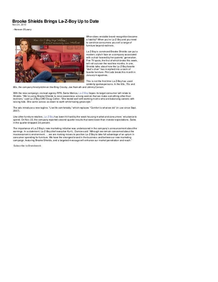 Brooke Shields Brings La-Z-Boy Up to DateNov 24, 2010- Noreen OLeary                                                      ...