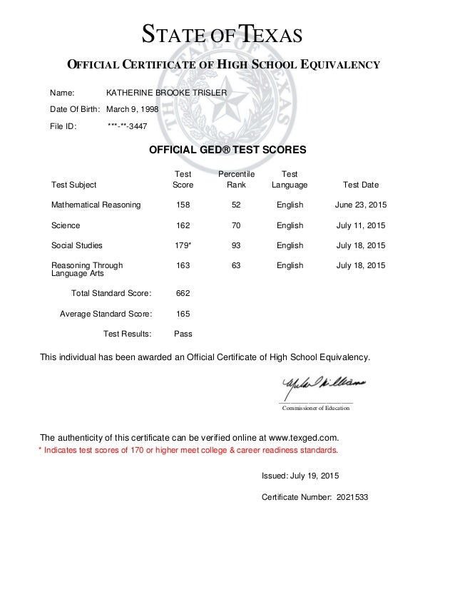 brooke's ged certificate