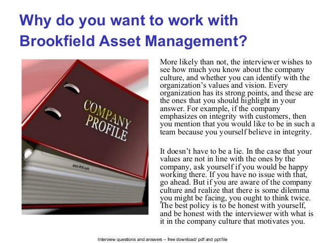 Brookfield asset management interview questions and answers
