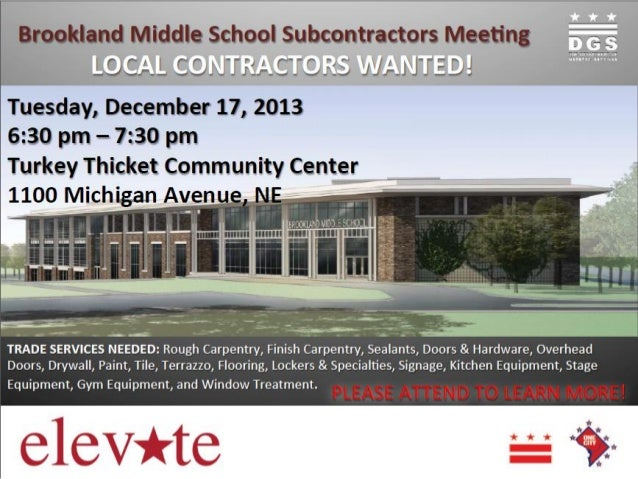 Brookland Middle School Subcontractor Meeting Flyer