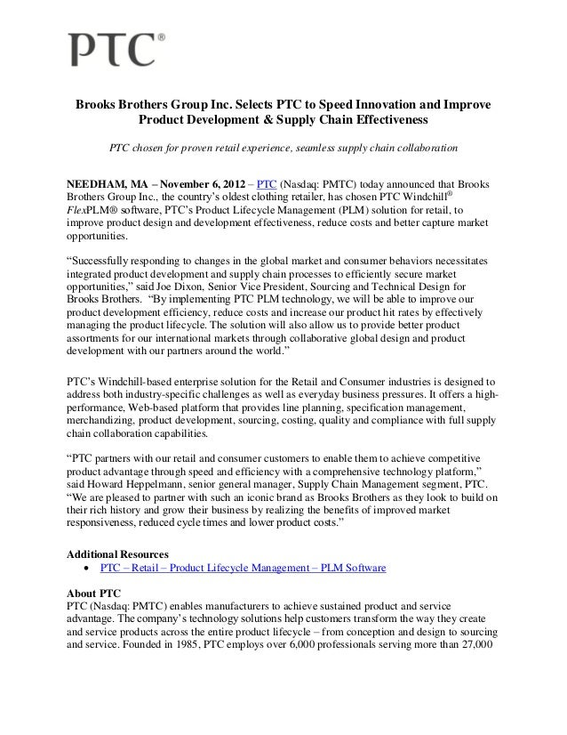 Brooks Brothers Group Inc. Selects PTC to Speed Innovation and Improve            Product Development & Supply Chain Effec...