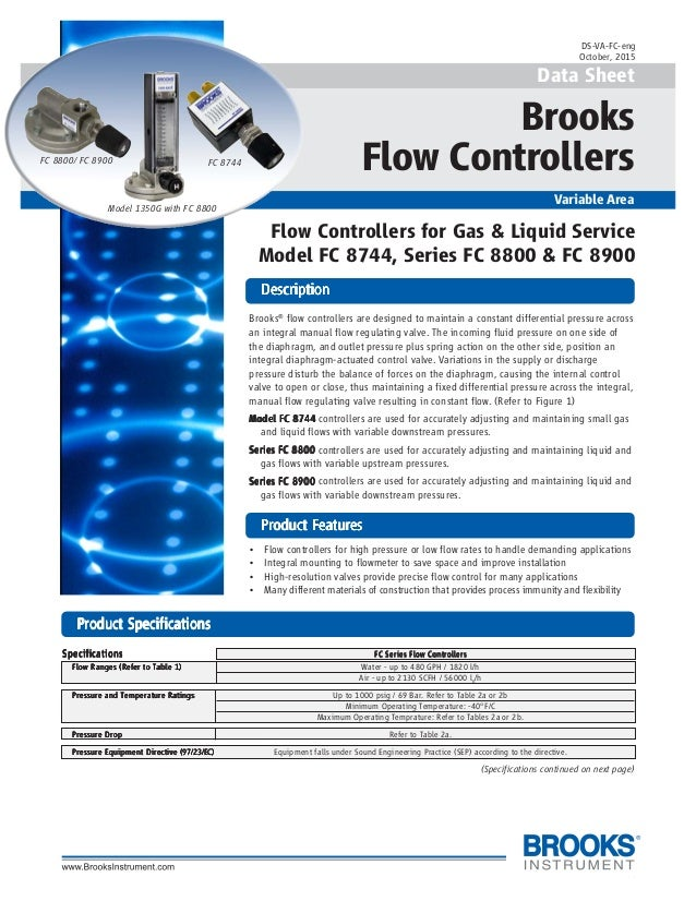 1 Data Sheet Brooks Flow Controllers Variable Area DescriptionDescriptionDescriptionDescriptionDescription PrPrPrPrProduct...