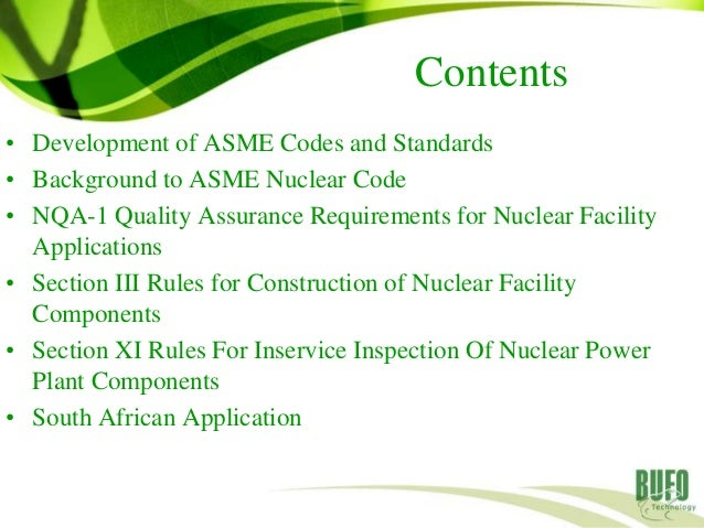 Development of ASME Codes and Standards
