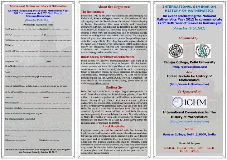 International Seminar on History of Mathematics                                       About the Organizers                ...