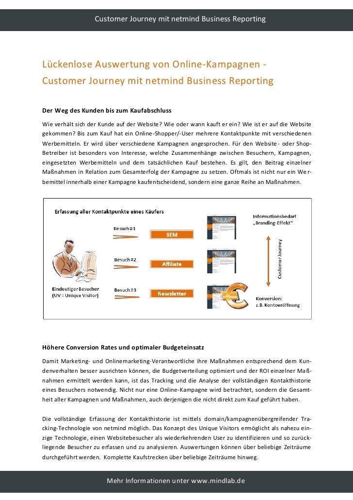 Customer Journey mit netmind Business Reporting     Lückenlose Auswertung von Online-Kampagnen - Customer Journey mit netm...