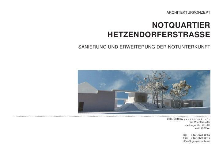 ARCHITEKTURKONZEPT                 NOTQUARTIER         HETZENDORFERSTRASSESANIERUNG UND ERWEITERUNG DER NOTUNTERKUNFT     ...
