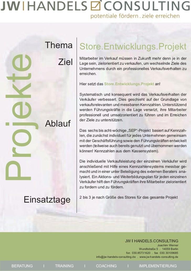 JW                   Thema Store.Entwicklungs.ProjektProjekte                                Mitarbeiter im Verkauf müssen...