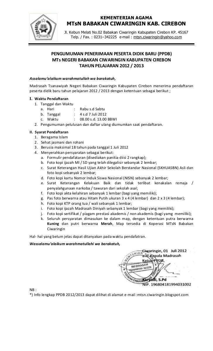 Contoh Brosur Ppdb Mtsn Babakan Ciwaringin Cirebon