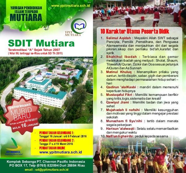 Brosur Penerimaan Siswa Baru Sd S It Ypit Mutiara Duri
