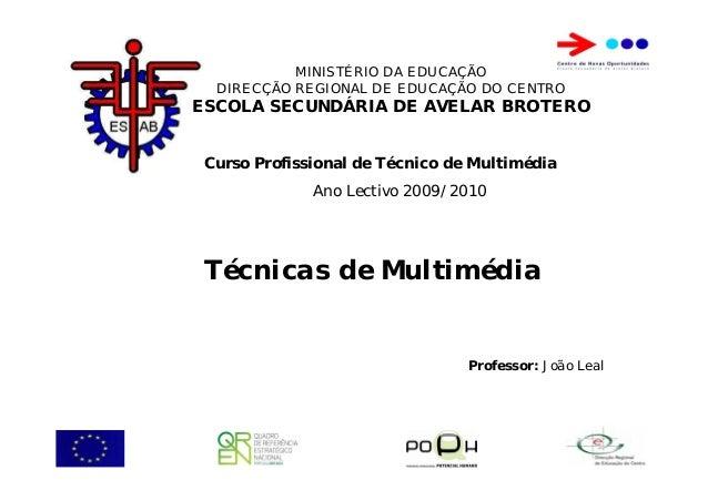 Curso Profissional de Técnico de Multimédia Ano Lectivo 2009/2010 MINISTÉRIO DA EDUCAÇÃO DIRECÇÃO REGIONAL DE EDUCAÇÃO DO ...