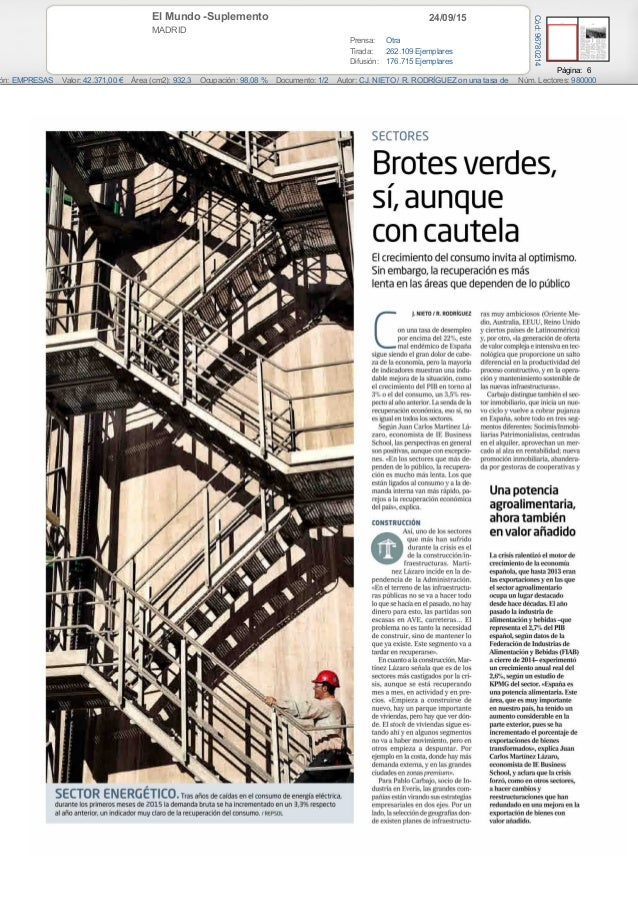 24/09/15El Mundo -Suplemento MADRID Prensa: Otra Tirada: 262.109 Ejemplares Difusión: 176.715 Ejemplares Página: 6 ón: EMP...