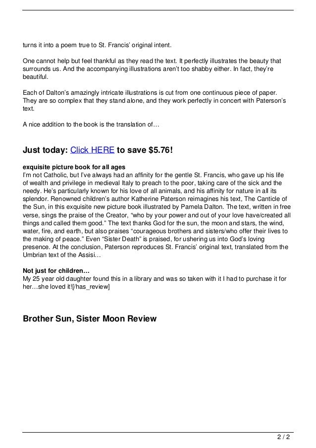 Brother Sun Sister Moon Review