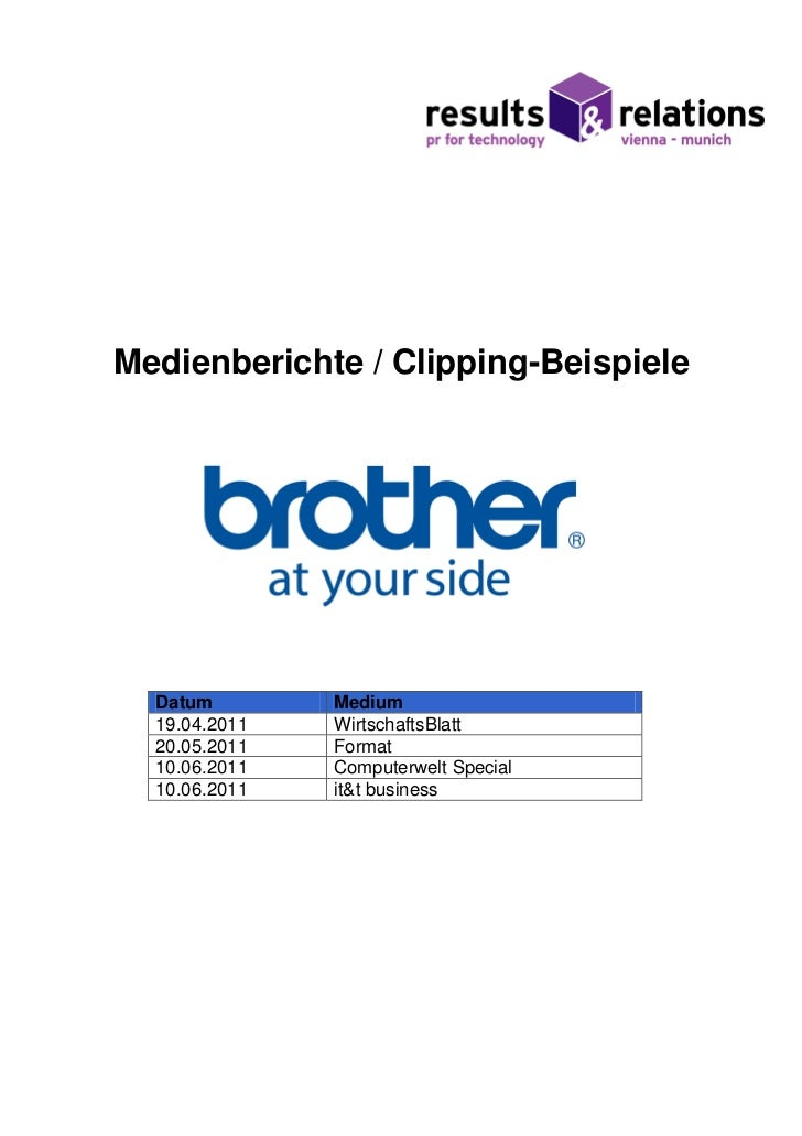 Medienberichte / Clipping-Beispiele  Datum        Medium  19.04.2011   WirtschaftsBlatt  20.05.2011   Format  10.06.2011  ...