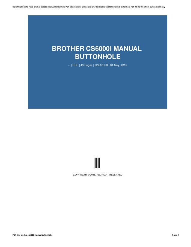 brother cs6000i manual buttonhole rh slideshare net brother cs6000i manual e1 error brother cs6000i manual download