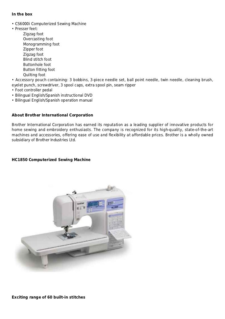 Brother Hc40 Computerized Sewing And Quilting Machine Fascinating Brother Hc1850 Sewing And Quilting And Embroidery Machine