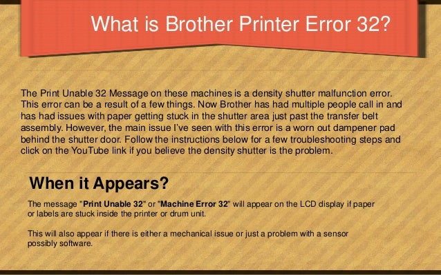 Brother Printer Error 32 - Causes, Solutions & How To Fix