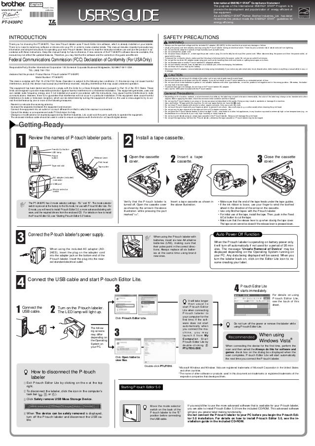 BROTHER PT-2430PC MANUAL PDF