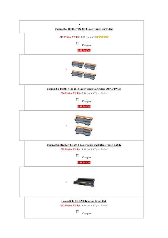 Compatible Brother TN-2010 Laser Toner Cartridges          £15.99 (inc VAT)£13.33 (ex VAT)                             Com...