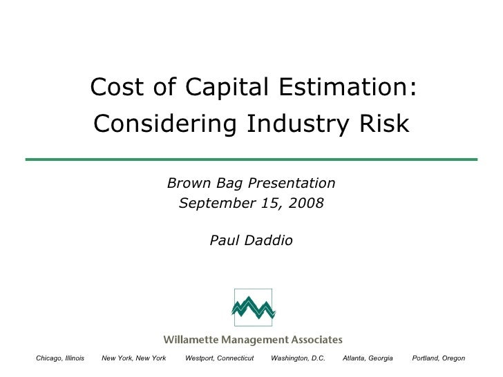 Cost of Capital Estimation: Considering Industry Risk Brown Bag Presentation September 15, 2008 Paul Daddio