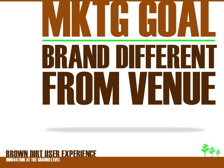 MKTG GOAL          BRAND DIFFERENT          FROM VENUEBROWNATDIRT USER EXPERIENCEINNOVATION THE GROUND LEVEL
