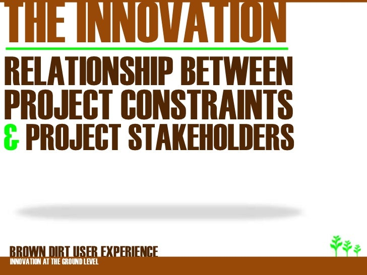 THE INNOVATIONRELATIONSHIP BETWEENPROJECT CONSTRAINTS& PROJECT STAKEHOLDERSBROWNATDIRT USER EXPERIENCEINNOVATION THE GROUN...